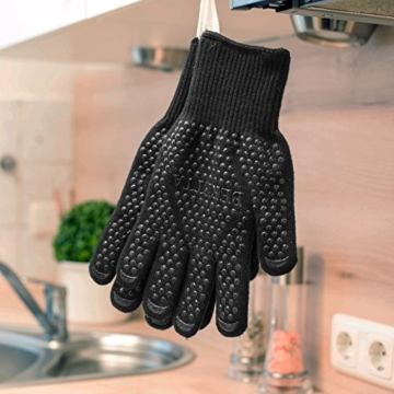 Hochwertige Grillhandschuhe (ein Paar) - Hitzebeständig Bis Zu 500 °C – Nach EN407 Zertifizierte Ofenhandschuhe Aus Kevlar-Nomex Fasern – Kaminhandschuhe Extra Lang - 6