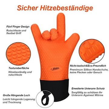 NOSIVA Ofenhandschuhe, Silikon 230 ℃ Extrem Hitzebeständige Grillhandschuhe BBQ Handschuhe zum Kochen, Backen, Barbecue Isolation Pads, 1 Paar, Orange - 2
