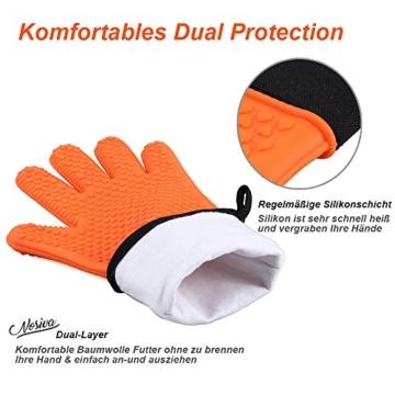 NOSIVA Ofenhandschuhe, Silikon 230 ℃ Extrem Hitzebeständige Grillhandschuhe BBQ Handschuhe zum Kochen, Backen, Barbecue Isolation Pads, 1 Paar, Orange - 3