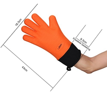 NOSIVA Ofenhandschuhe, Silikon 230 ℃ Extrem Hitzebeständige Grillhandschuhe BBQ Handschuhe zum Kochen, Backen, Barbecue Isolation Pads, 1 Paar, Orange - 4