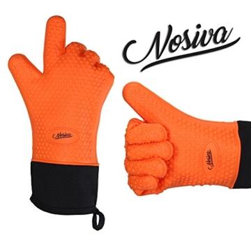 NOSIVA Ofenhandschuhe, Silikon 230 ℃ Extrem Hitzebeständige Grillhandschuhe BBQ Handschuhe zum Kochen, Backen, Barbecue Isolation Pads, 1 Paar, Orange - 1