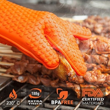 NOSIVA Ofenhandschuhe, Silikon 230 ℃ Extrem Hitzebeständige Grillhandschuhe BBQ Handschuhe zum Kochen, Backen, Barbecue Isolation Pads, 1 Paar, Orange - 5