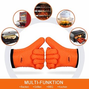 NOSIVA Ofenhandschuhe, Silikon 230 ℃ Extrem Hitzebeständige Grillhandschuhe BBQ Handschuhe zum Kochen, Backen, Barbecue Isolation Pads, 1 Paar, Orange - 6