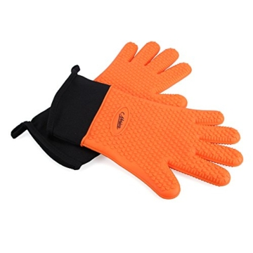 NOSIVA Ofenhandschuhe, Silikon 230 ℃ Extrem Hitzebeständige Grillhandschuhe BBQ Handschuhe zum Kochen, Backen, Barbecue Isolation Pads, 1 Paar, Orange - 7