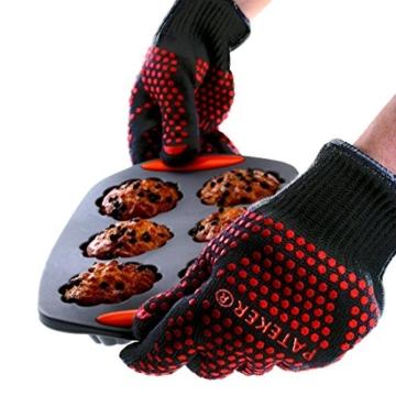 Pateker®- 2 Professionelle grillhandschuhe ofenhandschuhe Kochhandschuh -XL - 3