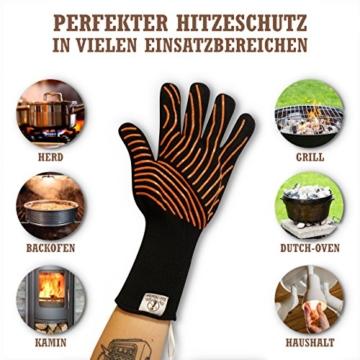 Premium Grillhandschuhe / 2er Set / Bis 500°C Hitzebeständig / EN407 Zertifizierte Ofenhandschuhe Aus Kevlar-Nomex Gewebe / Extra Lang Zum Grillen, Kochen & Backen / Ess-Nische Backhandschuhe - 4