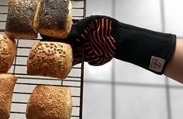 Premium Grillhandschuhe / 2er Set / Bis 500°C Hitzebeständig / EN407 Zertifizierte Ofenhandschuhe Aus Kevlar-Nomex Gewebe / Extra Lang Zum Grillen, Kochen & Backen / Ess-Nische Backhandschuhe - 5