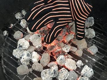Premium Grillhandschuhe / 2er Set / Bis 500°C Hitzebeständig / EN407 Zertifizierte Ofenhandschuhe Aus Kevlar-Nomex Gewebe / Extra Lang Zum Grillen, Kochen & Backen / Ess-Nische Backhandschuhe - 9