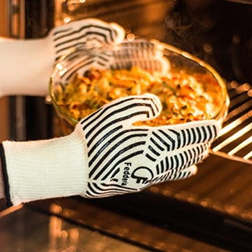 Premium Grillhandschuhe 2er Set weiß beige. Bis zu 500 °C Hitzeschutz. Ofenhandschuhe aus hitzebeständiger Nomex-Faser. Mit rutschfesten Silikonstreifen. - 6
