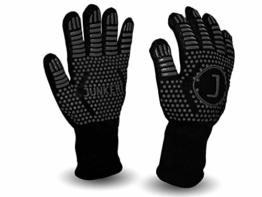 Premium Ofenhandschuhe aus Aramid - hitzebeständig bis 500°C - elegantes Design - Vielseitig einsetzbar - Grillhandschuhe - Kaminhandschuhe - Topfhandschuhe - Backhandschuhe (schwarz) - 1