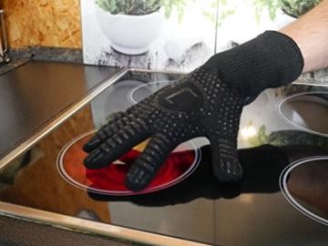 Premium Ofenhandschuhe aus Aramid - hitzebeständig bis 500°C - elegantes Design - Vielseitig einsetzbar - Grillhandschuhe - Kaminhandschuhe - Topfhandschuhe - Backhandschuhe (schwarz) - 5