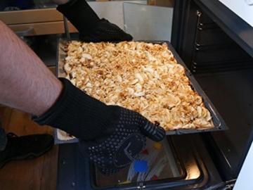 Premium Ofenhandschuhe aus Aramid - hitzebeständig bis 500°C - elegantes Design - Vielseitig einsetzbar - Grillhandschuhe - Kaminhandschuhe - Topfhandschuhe - Backhandschuhe (schwarz) - 6