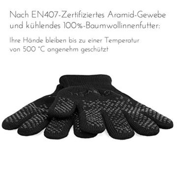 Premium Ofenhandschuhe (Größe S) - 2er Set - hitzebeständig bis 500°C - nach EN407 zertifiziert - extra lang für besten Schutz - Grillhandschuhe - Kaminhandschuhe aus Aramidfasern - 3