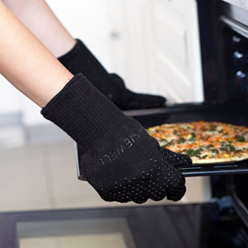 Premium Ofenhandschuhe (Größe S) - 2er Set - hitzebeständig bis 500°C - nach EN407 zertifiziert - extra lang für besten Schutz - Grillhandschuhe - Kaminhandschuhe aus Aramidfasern - 5