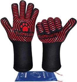 Tidinesslife Grillhandschuhe BBQ Handschuhe extrem hitzebeständige Ofenhandschuhe Red - 1