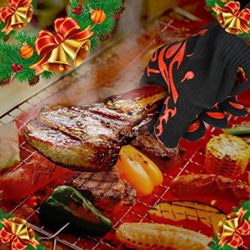 Topbest Hohe Qualität Grillhandschuhe(2er Set) mit Kostenlosen Bear Paws-EN407 Beglaubigte Extrem Hitzebeständige Backhandschuh, Küchenhandschuhe,Ofenhandschuhe - Eine Größe passt fast allen - 5