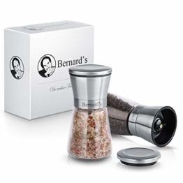 Bernard's® Salz und Pfeffer Mühle (2er Set) mit verstellbarem Keramikmahlwerk I Stilvolle Gewürzmühle & Chilimühle inkl. Gourmet-Kochbuch - 1