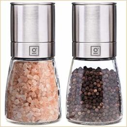 Garcon Salz und Pfeffer Mühle mit Keramikmahlwerk - Salzmühle und Pfeffermühle aus Glas & Edelstahl - Salt and Pepper Grinder Gewürzmühle - 1