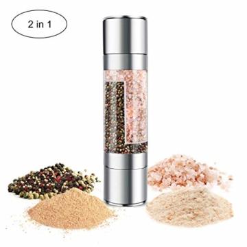 GHEART Salz und Pfeffermühle 2 in1 Manuell Edelstahl Gewürzmühle mit Verstellbarem Keramik Mahlwerk Pfefferstreuer für Gewürze Pfeffer und Chilli - 1