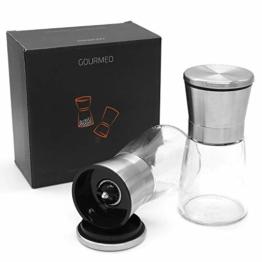 GOURMEO Gewürzmühle 2er Set mit verstellbarem Keramikmahlwerk - Edle Salz- und Pfeffermühle aus hochwertigem Edelstahl - für verschiedene Gewürze einsetzbar - 1