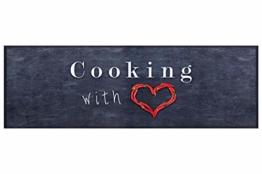 HOMEFACTO:RI Küchenläufer Küchenteppich Teppichläufer Cooking with Love | waschbar, Größe:ca. 45 x 145 cm - 1