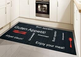 Küchenläufer Küchenteppich Gelläufer Waschbar Schwarz Rot Weiss mit Schriftzug Guten Appetit Größe 80x200 cm - 1