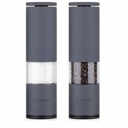 LARS NYSØM Edelstahl Salz und Pfeffer Mühle 2er Set mit einstellbarem Keramik-Mahlwerk von grob bis fein I Design Gewürzmühlenset (2 Stück, Grau) - 1