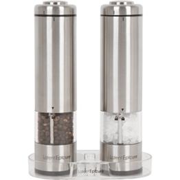 Latent Epicure Salz und Pfeffermühle (2er Set) - Batteriebetrieben | Leuchtendes Licht | Einstellbare Feinheit | inkl. GRATIS Ständer - 1