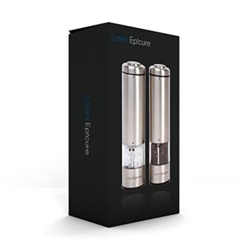 Latent Epicure Salz und Pfeffermühle (2er Set) - Batteriebetrieben | Leuchtendes Licht | Einstellbare Feinheit | inkl. GRATIS Ständer - 6