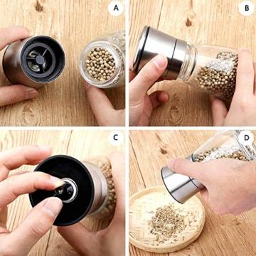 RANSENERS Gewürzmühle, Pfeffermühle Salzmühle mit Hochwertigem Edelstahl, Keramikmahlwerk Einstellbarer Feinheit (2er Set) - 3