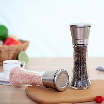 RANSENERS Gewürzmühle, Pfeffermühle Salzmühle mit Hochwertigem Edelstahl, Keramikmahlwerk Einstellbarer Feinheit (2er Set) - 7