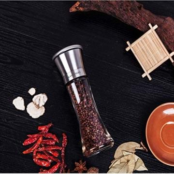 RANSENERS Gewürzmühle, Pfeffermühle Salzmühle mit Hochwertigem Edelstahl, Keramikmahlwerk Einstellbarer Feinheit (2er Set) - 8
