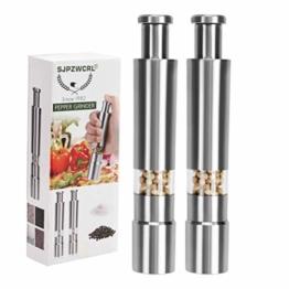 Salzmühle Pfeffermühle, Edelstahl Pepper Grinder Durable Salzmühle Einhandbedienung Salz Pfeffermühle 2er Pack - 1