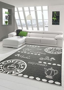 Teppich Modern, Flachgewebe Sisaloptik Küchenteppich Coffee Schwaz Weiss (TraumTeppich) Größe 80x150 cm - 1